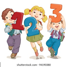 Vector illustration, school kids with figures, card concept, white background.