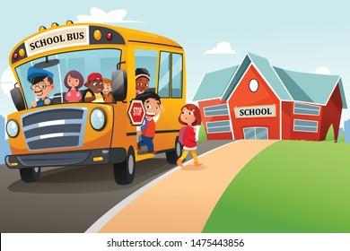 A vector illustration of School Kids Getting Off The School Bus Illustration