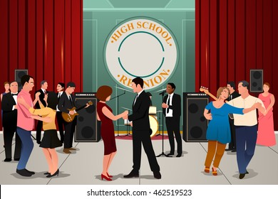 A vector illustration of school reunion party