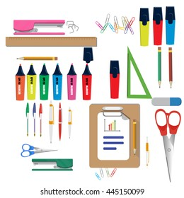 Vector illustration of  school supplies learning equipment and different school supplies colorful office accessories.