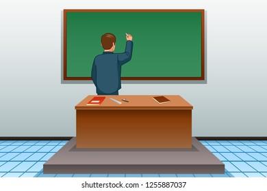 A vector illustration of School Teacher Writing on Blackboard