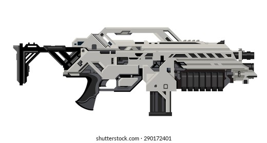 A vector illustration of a science fiction heavy assault rifle. Heavy Assault Rifle Illustration Icon. Futuristic weapon with grenade launcher,