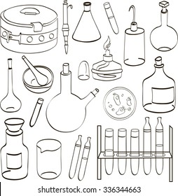 Vector illustration of Science on a white background.Design for fabrics, textiles, paper, wallpaper, Internet. Chemistry Hand Drawn pattern.