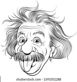 Vector illustration of scientist Albert Einstein in caricature style.