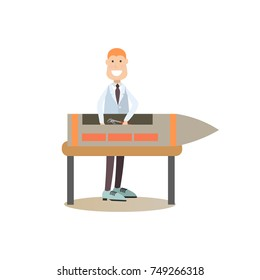 Vector illustration of scientist, design engineer with rocket. Space exploration, development of rocket and space technology concept. Flat style design element, icon isolated on white background.