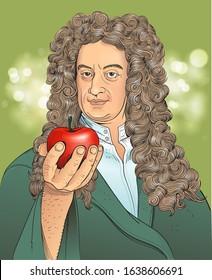Vector illustration of scientist Isaac Newton in cartoon style.