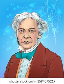 Vector illustration of scientist Michael Faraday in cartoon style.