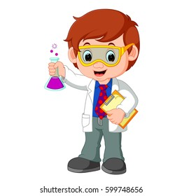 vector illustration of Scientist or professor holding flask