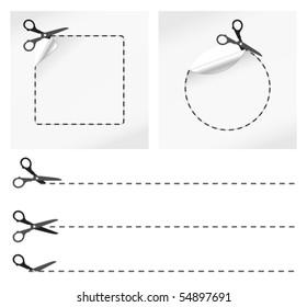 vector illustration of scissors cut stickers