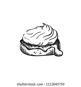 Vector illustration of scones, sketch isolated on white - hot home made baked sweet bun.