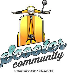 Vector illustration, Scooter community symbol