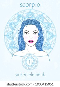 Vector illustration of Scorpio zodiac sign, portrait beautiful girl and horoscope circle. Water element. Mysticism, predictions, astrology.