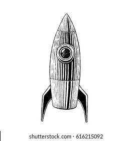 Vector Illustration of a Scratchboard Style Ink Drawing of a Striped Rocket