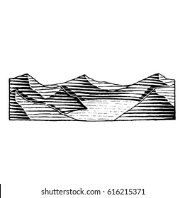 Vector Illustration of a Scratchboard Style Ink Drawing of a Mountain Lake