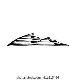 Vector Illustration of a Scratchboard Style Ink Drawing of Sand Dunes