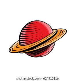 Vector Illustration of a Scratchboard Style Ink and Watercolor Drawing of a Saturn like Planet