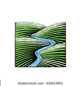 Vector Illustration of a Scratchboard Style Ink and Watercolor Drawing of Hills and River