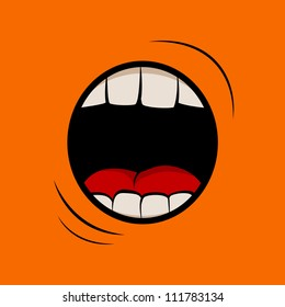 Vector illustration with screaming mouth