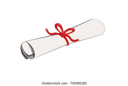 Vector illustration of a scroll tied with a ribbon