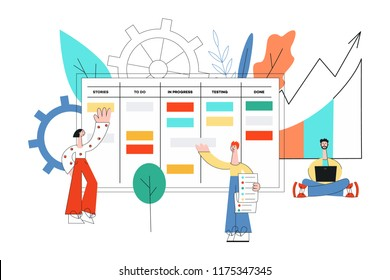Vector illustration of scrum planning technique of teamwork on software development in flat style - disproportionately small people working with laptop and discussing tasks and goals.