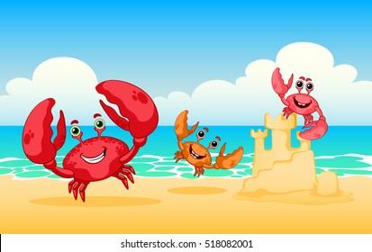 Vector illustration sea animals. Illustration of  happy red crab.  Family of crabs on a beach, vector red crab. Sea beach. Rest on the beach.