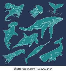 Vector illustration of sea animals. White outline. Sketch. Blue background.