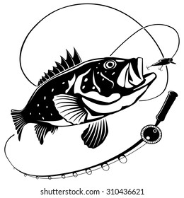 Vector illustration of sea bass fish and fishing rod. Vector illustration can be used for creating logos and emblems for fishing clubs, prints, web and other crafts.