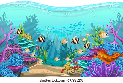 vector illustration of the sea. fish in deep sea. beautiful algae, fish and coral in the sea
