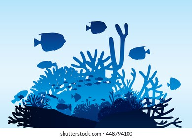 Vector illustration of sea life and coral on seabed background.