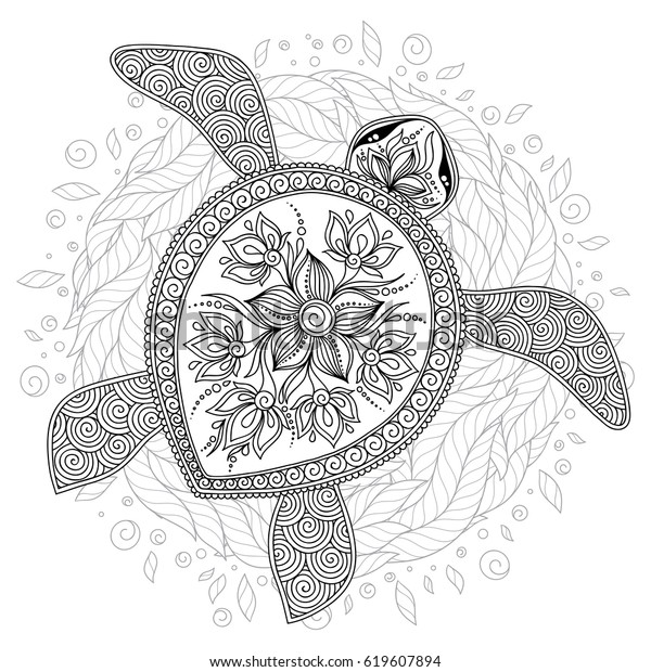 Vector Illustration Sea Turtle Coloring Book Stock Vector (Royalty Free)  619607894
