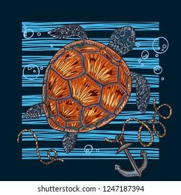 Vector illustration of a sea turtle. Print on the sea theme