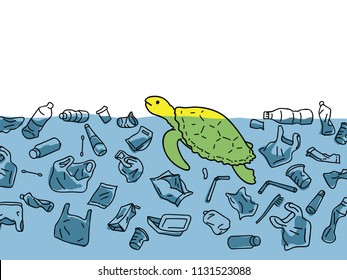 Vector illustration of sea turtle in sea water, surrounding with garbage and plastic in concept of water pollution environmental problem.