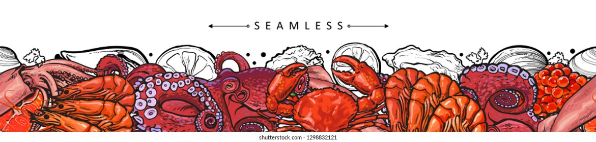 Vector illustration of seafood border seamless pattern with various delicacy marine edible animals isolated on white background - bright colorful hand drawn sea food design element.