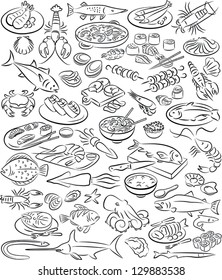 vector illustration of seafood collection in line art mode
