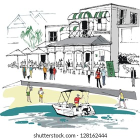 Vector illustration of seafood restaurant, Watsons Bay, Sydney Australia
