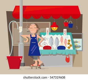 Vector illustration of seafood stall vendor in Hong Kong
