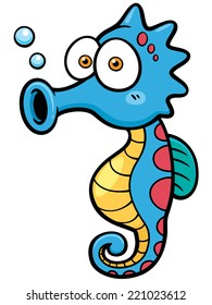 Vector illustration of seahorse cartoon