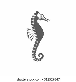 Vector illustration of a seahorse in the old-fashioned style and line-art style. Can be used as a tattoo / Seahorse black and white vector illustration