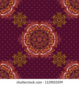 Vector illustration. Seamless abstract tribal pattern in pink, purple and orange colors. Hand drawn ethnic texture, flight of imagination.