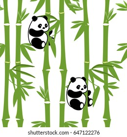 Vector illustration seamless animals pattern with cute baby panda bamboo background. Black and white bear.