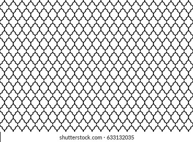 Vector Illustration of a Seamless Arabic Pattern Background in Black Lines