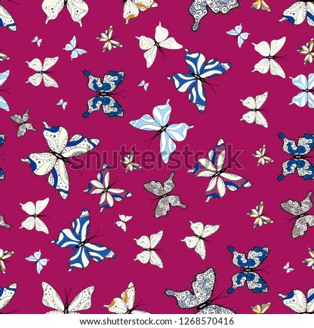 Vector Illustration Seamless Background Colorful Butterflies Stock