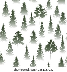 Vector illustration of a seamless background of forest coniferous trees of spruce, pine