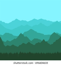 Vector illustration. Seamless background with green and blue mountain peaks, forest and sky. Design for a tourist poster, banner, postcard.