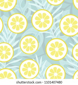 Vector illustration: seamless background with lemon slices tropical exotic palm leaves, jungle leaf. Fruit and floral elements isolated on light blue background for greeting card, fabric, wallpaper