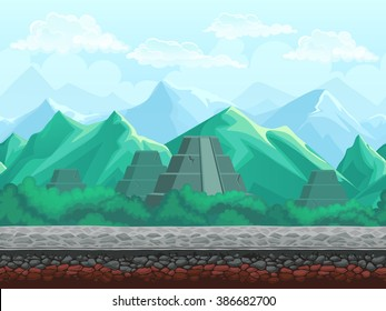 Vector illustration seamless background of the pyramid in the emerald mountains. For mobile game user interface, newsletters, brochures, ads, business cards, greeting cards, catalogs, reports, flyers.