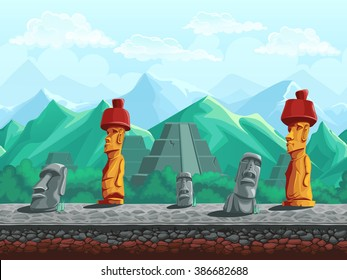 Vector illustration seamless background stone statue, pyramid in emerald mountains. For mobile game user interface, newsletters, brochures, business cards, greeting cards, catalogs, reports, flyers.