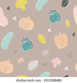 Vector illustration of a seamless background of Vegetables. Lineart graphic. Vegetables background. Scandinavian style. Healthy eating pattern.