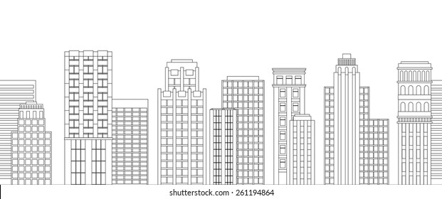 Vector illustration Seamless border of line skyscrapers. Black and white