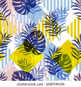 Vector illustration, seamless botanical silhouette pattern on a modern colorful geometrical background